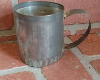 vintage BISCUIT CUP,child's size drinking up,metal used unique weird steam punk
