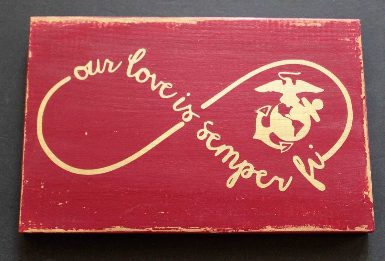 marine corps wedding marine wedding rings Marine Corps Wife Gift Our Love Is Semper Fi Rustic Wood Sign USMC Wedding Sign Marine Love Infinity Circle Marine Girlfriend