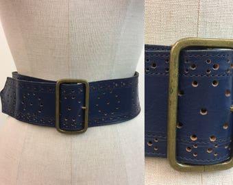 Vintage WIDE Blue Leather Belt / 1970s Hippie Belt