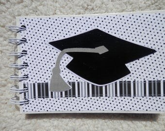 4x6 Chipboard Graduation Mini Scrapbook Album Black Grey White