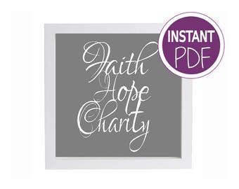 Papercut Template,  Commercial Use - Faith Hope Charity Papercut Template by Peppermint Purple
