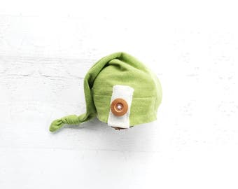 Newborn Boy Green Upcycle Hat Top Knot Knit Elf Hat Photography Prop ready to ship