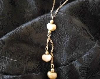 Triple Heart Lariat Necklace