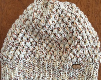 The Puff Beanie - ivory/rust/gold colored yarn slouchy beanie, hat, winter accessory, perfect gift for women, teens, mom, daughter