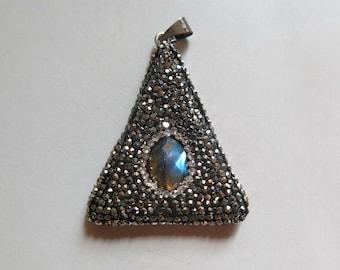 Pave Rhinestone Pendant With labradorite Inlay- B1492