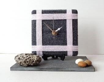 Dark Grey Clock - Wool Desk Clock - Grey and Pink Clock - Pale Pink Clock - Square Desk Clock - Rustic Clock