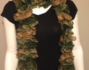 metallic Ruffle scarf-ruffle scarf-ladies scarf-winter scarf-knit scarf-hand knit scarf-gifts