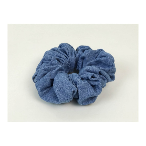 Denim Hair Scrunchie Handmade Upcycled 90's Inspired Hair Scrunchie - Denim Hair Tie Funky Hair Accessory Giant Scrunchie Handmade Elastic