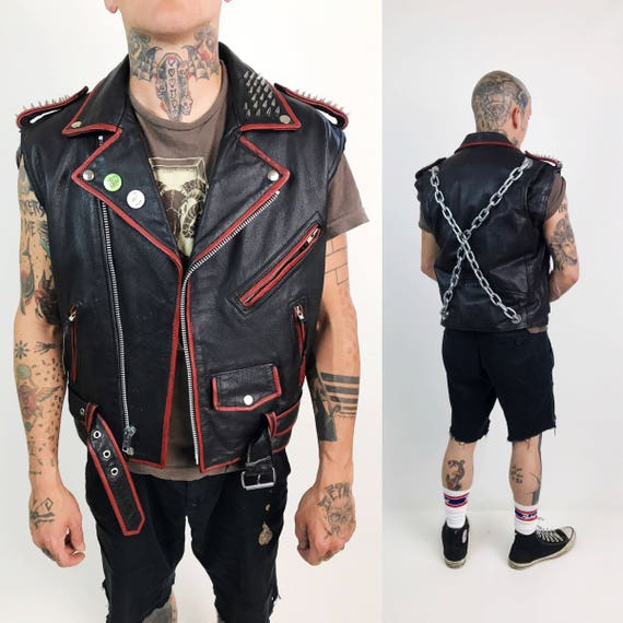 Industrial Leather Punk Vest Size 38 Medium - Vintage FMC Red Leather Jacket With Chains - Satanic Goth Painted Leather Spiked Goth Vest