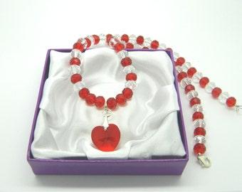 Swarovski Crystal Red Heart Pendant Necklace