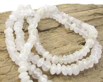 Snow Crystal Quartz Beads, Natural Quartz Beads, 14 inch Strand, 5x2 Saucer Beads, Jewelry Making Supplies, Item 1146gss