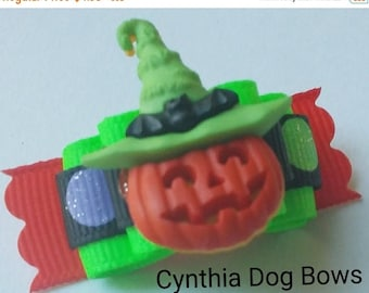 20% OFF CLEARANCE Halloween Dog Bow 5/8  Jack 0'Lantern with Batty Witch Hat