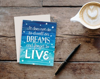 """Harry Potter inspired """"Dreams"""" greeting card / blank inside"""