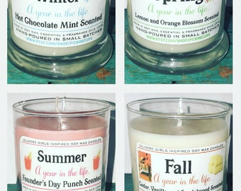 Gilmore Girls Inspired Candles- set of 4- A Year in the LIfe- -Seasons- Winter-Spring-Summer-Fall - Gilmore Girls Gifts- Stocking Stuffers-
