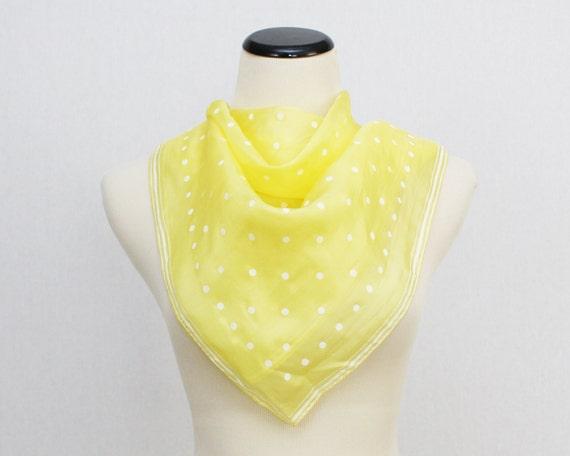 Yellow Polka Dot Vera Scarf - Vintage 1950s Parachute Silk Vera Neumann Scarf
