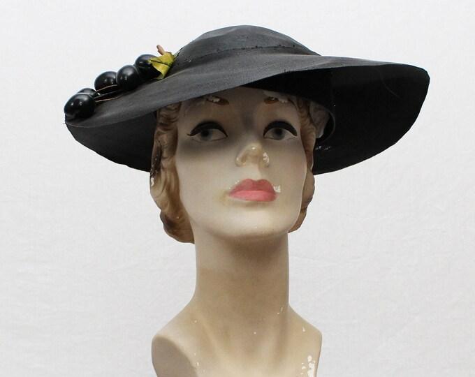 40s Black Wide Brim Tilt Hat - Vintage 1940s Faux Fruit Sunhat