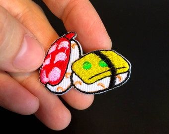 SUSHI Patches - Mini & Big Sushi Iron-on Patches - Sushi Lovers - Maki - Sashimi - Embroidery - Choose your size