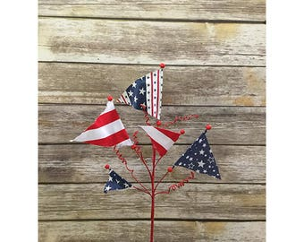 22″ Patriotic Flag Spray, Fourth of July Decor, Independence Day Decor