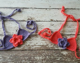 Crochet Starflower Mermaid Bikini Top- MADE TO ORDER- Multiple Sizes