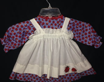 Dress and Apron for 30 INCH Raggedy Ann Doll, Blue Dress with Red Ladybugs, embroidered apron