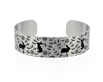 Rabbit cuff bracelet, brushed silver bangle with bunnies. Recycled pet jewellery. Bunny rabbit animal lovers gifts. Secret message. B472