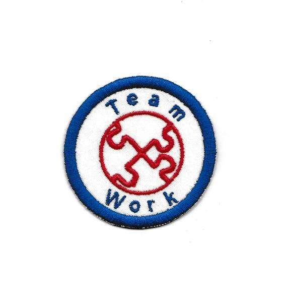 Quot team work merit badge patch any color combo custom
