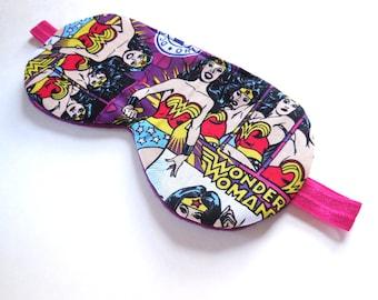 Wonder Woman Sleep Mask, Girls Superhero Eye Mask, Women Ladies Kid Child Pre-Teen Super Hero Blindfold, Eyeshade Shade Cover Sleepmask