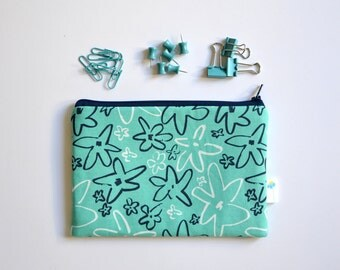 Aqua Zipper Pouch, Floral Cosmetic Bag, Forget Me Not Gift for Her, Cute Toiletry Bag, Small Accessory Bag Travel Organizer Bag Makeup Pouch