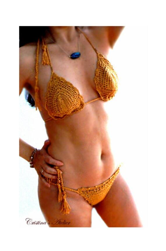 Precious gold tassels crochet bikini. Brazil style metallic crochet bikini set. Glamour gold bikini. Resort swimwear. Gold bikini-Women gift