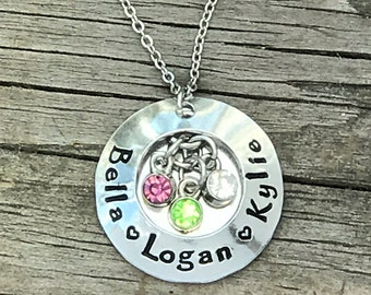 Valentine's Gift for Mother or Grandmother - gift for her - Cute Gift- Hand Stamped Jewelry- Personalized - Family Necklace - Custom Jewelry