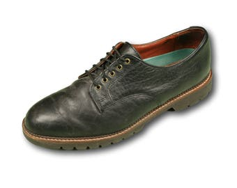 H.S. TRASK Black Bison Leather Plain Toe Oxfords - Men's Sz. 11.5 W