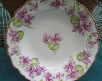 REDUCED Antique Elite Limoges Berry Set, Violets, Limoges China, France, Wedding Gift, Antique Collectible, Garden Party, Antique Gift, R