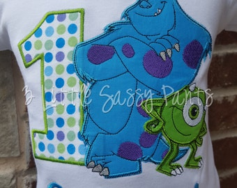 Monsters Inc. Birthday Embroidered Shirt- Applique- Custom- Boys Birthday Shirt- Monogram- Mike and Sully Birthday Shirt- Polka Dot- First