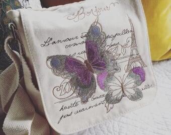 Vintage parisian butterfly embroidered  Organic cotton  handbag