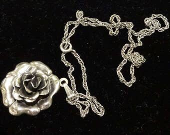 Beautiful Vintage Danecraft Sterling Silver Rose Pendant