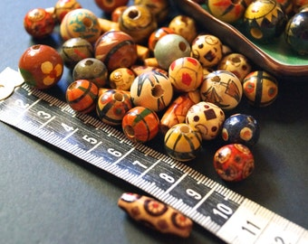 WOODEN BEADS.. Earthy colours, Assorted  sizes and styles 120 beads per pack - New Year De-stash