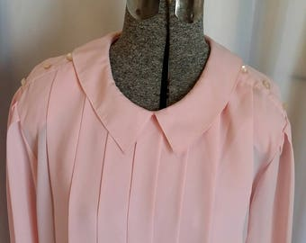 Vintage secretary blouse 80s Pink secretary blouse pink pleated blouse Chaus pink blouse Size 12 blouse