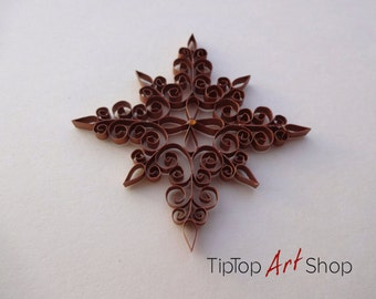 Quilled Star Ornament for Christmas Decoration made from Copper Metallic Paper; Homemade Christmas Gift