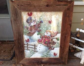 Barnwood Snowman Puzzle Picture