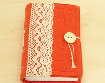 Handmade Orange cotton fabric Journal, Sketchbook, Diary, 240 pages, blank drawing paper.