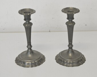 Two candlesticks candelabrum made of pewter in the 60s Venice