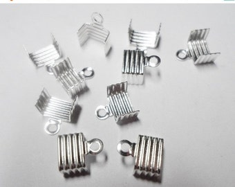 10 Fold Over Crimp Cord ends, 5mm 6mm Flat Clasp, Silver,