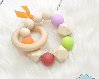 Teether Silicone Wooden Teething Ring, Rattle Toy
