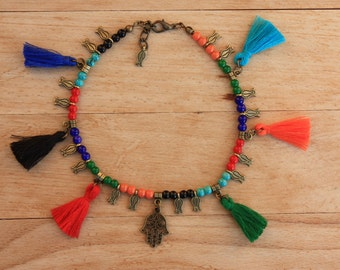 Tassel Anklets, Gypsy Beaded Charm&Tassel Anklets