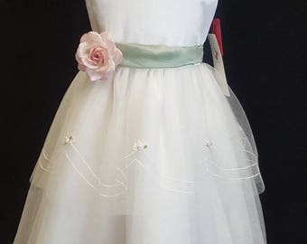 Beautiful Flowergirl or special occasion dress in size 8. White with Pink and sage green embroidery on the tiered skirt.New