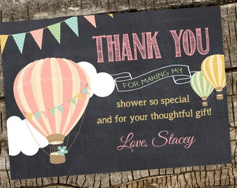 Hot Air Balloon Birthday Party Thank You Cards Digital File 5x7 or 4x6, Personalized Hot Air Balloon Birthday Matching Thank You