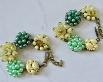 Green Yellow Cluster Bracelet Hand Crafted Repurposed Vintage Cluster Earrings to a Bracelet Green Yellow