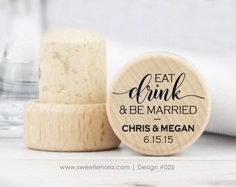 Eat Drink Be Married - Personalized Wine Stopper - Custom Wine Stopper - Gold Wine Stopper - Wedding Favor - Bridal Shower Favor - 025