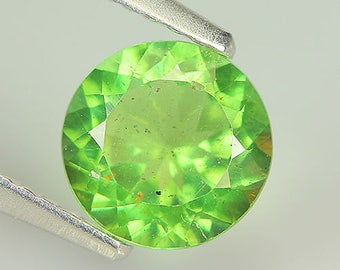Lovely 1.24 Ct Natural Unheated Green APATITE Round Gemstone
