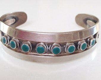 Native American Old Pawn Navajo Turquoise Sterling Hand Stamped Snake Eye Row Bracelet